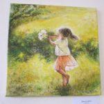 Jak jsme bohatí, namalovaný obraz - holčička na louce