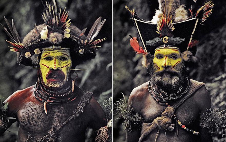 Kmenu Huli, parukáři - Papua Nová Guinea