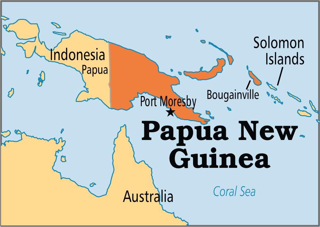 Papua Nová Guinea, mapa